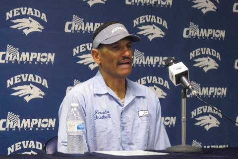 UNR coach Jay Norvell talks to reporters in Reno, Nev., Monday, Aug. 26, 2019, ahead of Friday ...