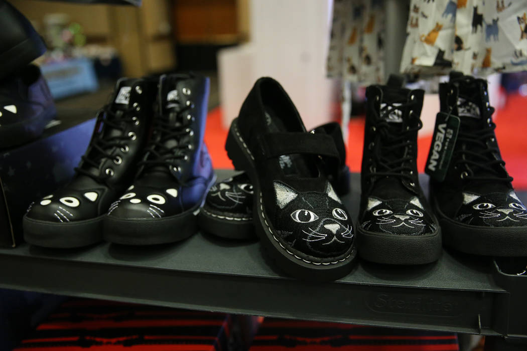 Cat themed shoes for sale by Paws and Pals during The International Cat Association's (T ...