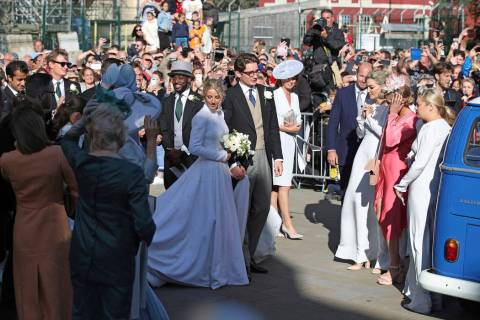 Newly married Ellie Goulding and Caspar Jopling leave York Minster after their wedding, in York ...