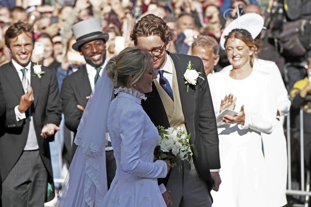 Newly married Ellie Goulding and Caspar Jopling leave York Minster after their wedding, in York ...