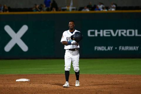 Las Vegas Aviators shortstop Jorge Mateo looks on while playing against Round Rock Express in & ...