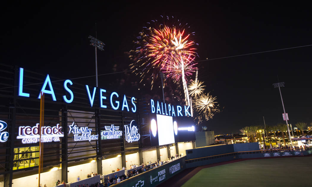 Fireworks go off above the Las Vegas Ballpark after the Las Vegas Aviators defeated the Reno Ac ...