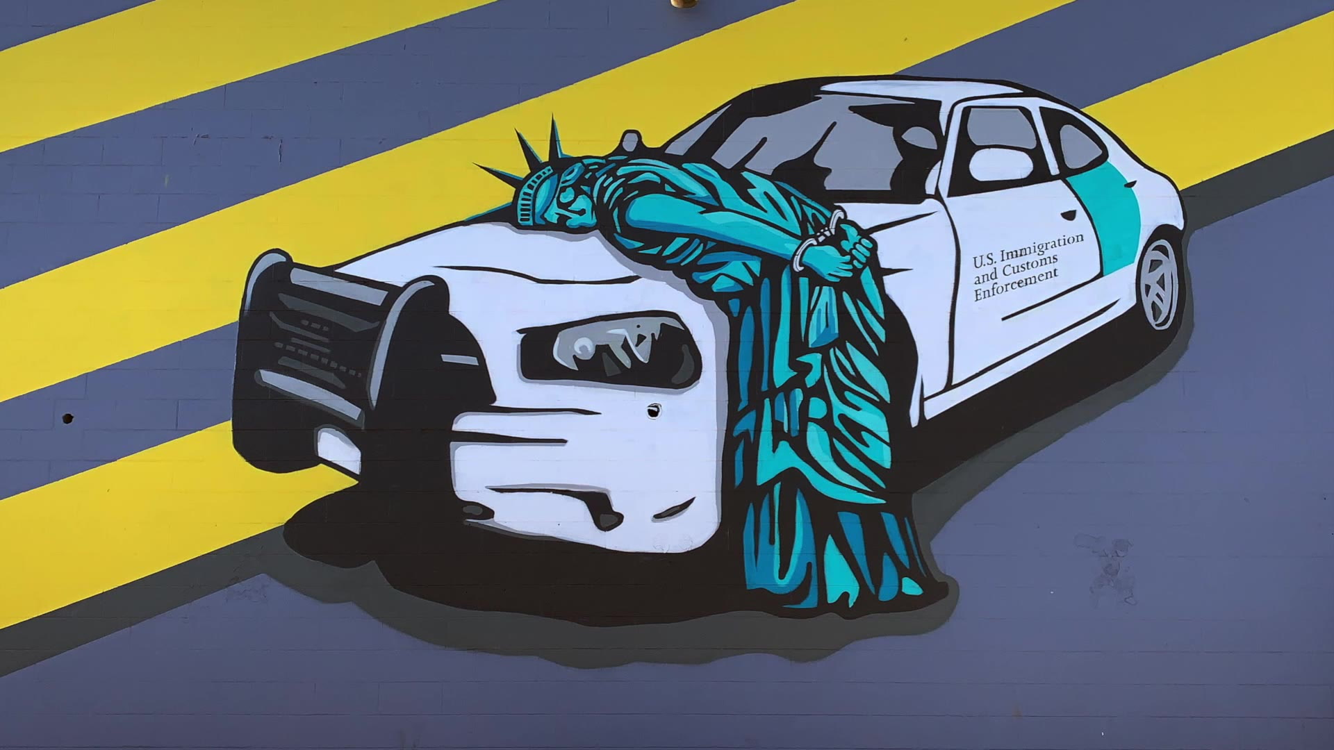 Las Vegas Mural Shows Statue Of Liberty Arrested By Ice