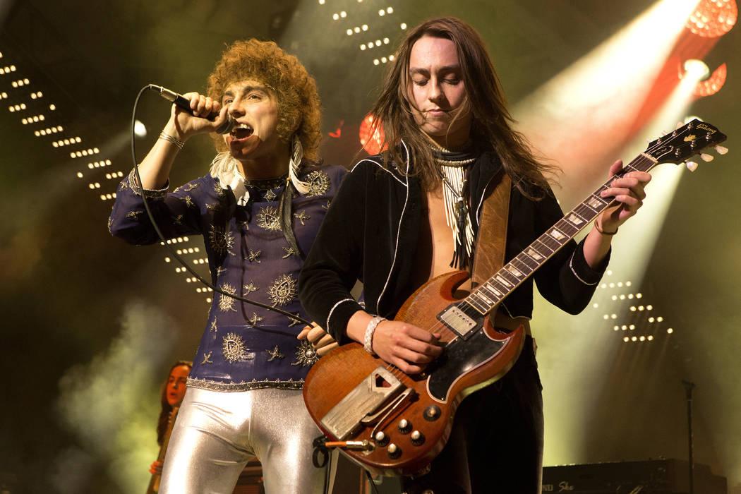 Josh Kiszka, left, and Jake Kiszka of the band Greta Van Fleet perform in concert during their ...