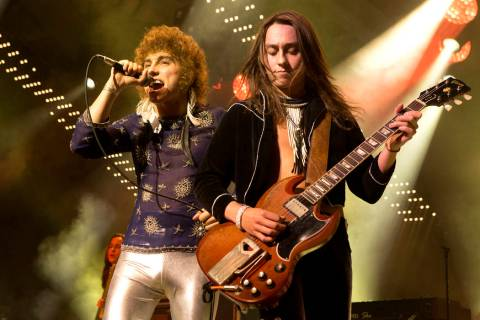 Josh Kiszka, left, and Jake Kiszka of the band Greta Van Fleet perform in concert during their ...