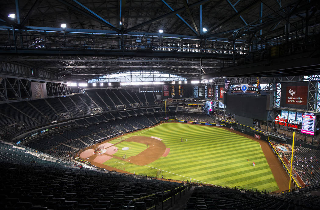 A view of Chase Field before the start of an Arizona Diamondbacks baseball game against the Phi ...