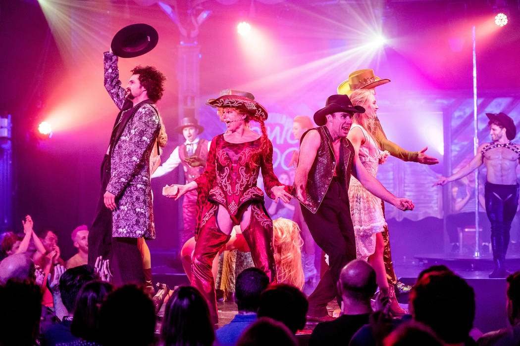 """The cast of """"Atomic Saloon Show"""" bows it out during its debut at Edinburgh Festival Fringe on A ..."""