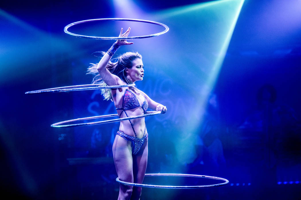 """Hoop artist Aliona is shown in a performance of """"Atomic Saloon Show"""" during its debut at Edinbu ..."""