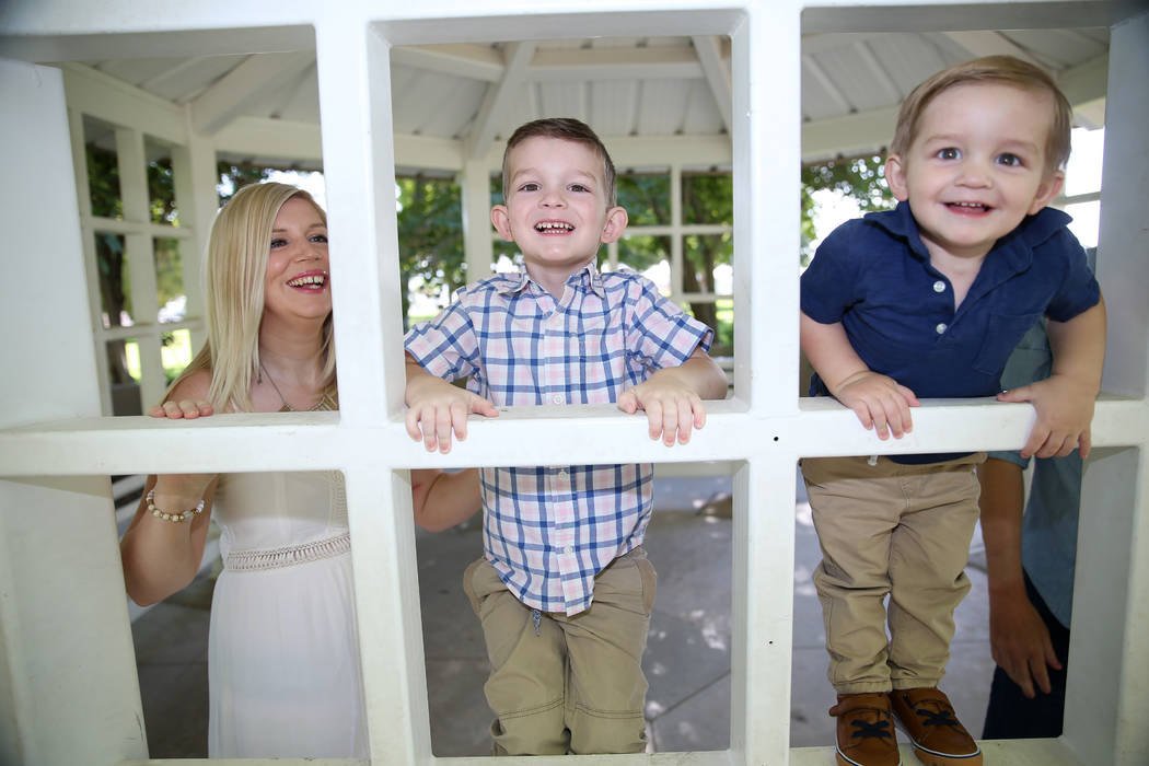 Charlie Bayley, from left, and her sons Logan, 4, and Noah, 1, at Floyd Lamb Park in Las Vegas, ...