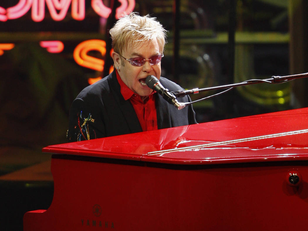 """Elton John performs his final """"The Red Piano"""" show at The Colosseum inside Caesars Palace hotel ..."""