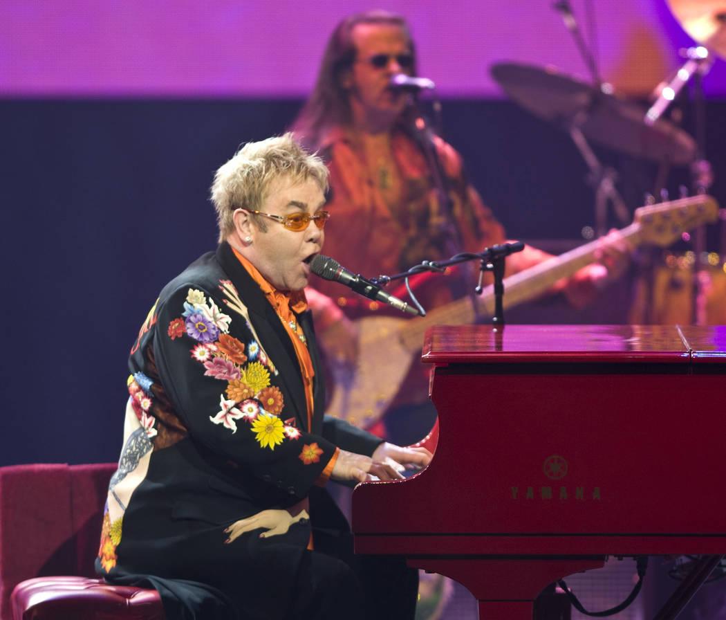 Pop superstar Elton John performs at The Colosseum inside Caesars Palace hotel-casino on Saturd ...