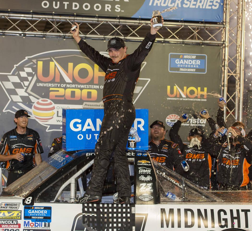 Brett Moffitt celebrates in Victory Lane after winning the NASCAR Truck Series auto race Thursd ...