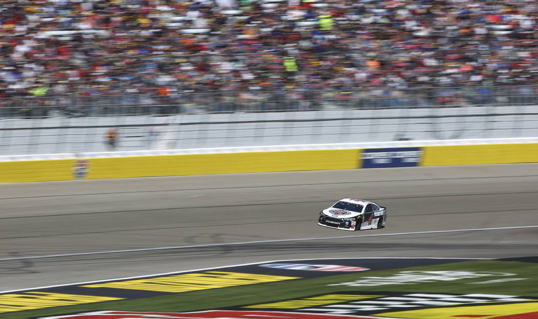 Kevin Harvick (4) competes during the Monster Energy NASCAR Cup Series Pennzoil 400 auto race a ...