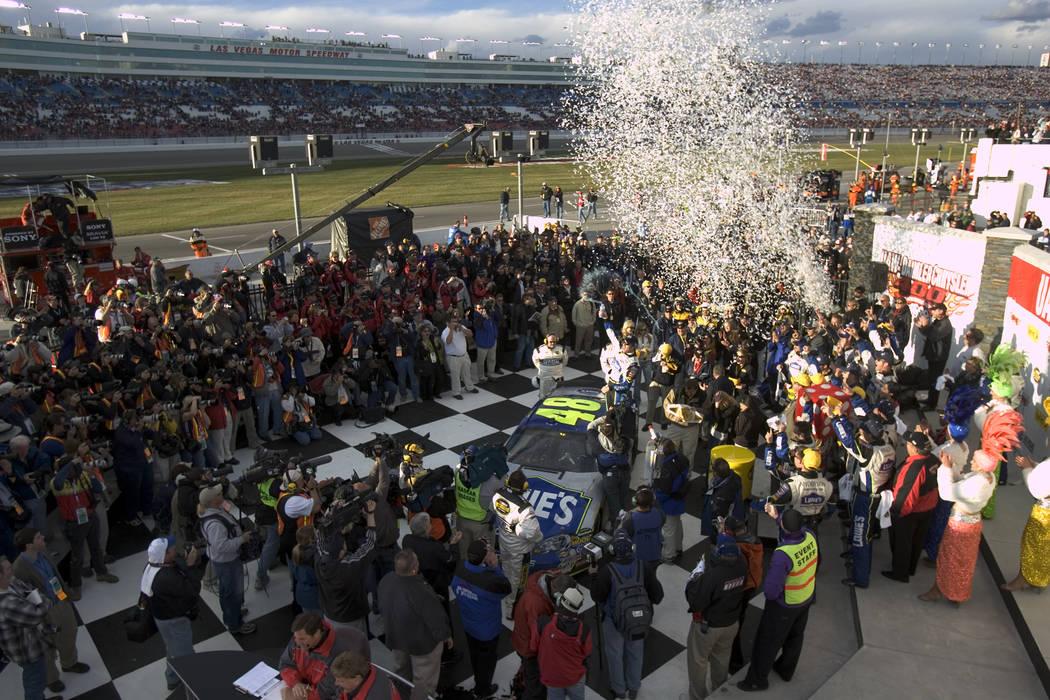 RJ FILE*** SPORTS - Jimmie Johnson celebrates in victory lane after winning the NASCAR Nextel C ...