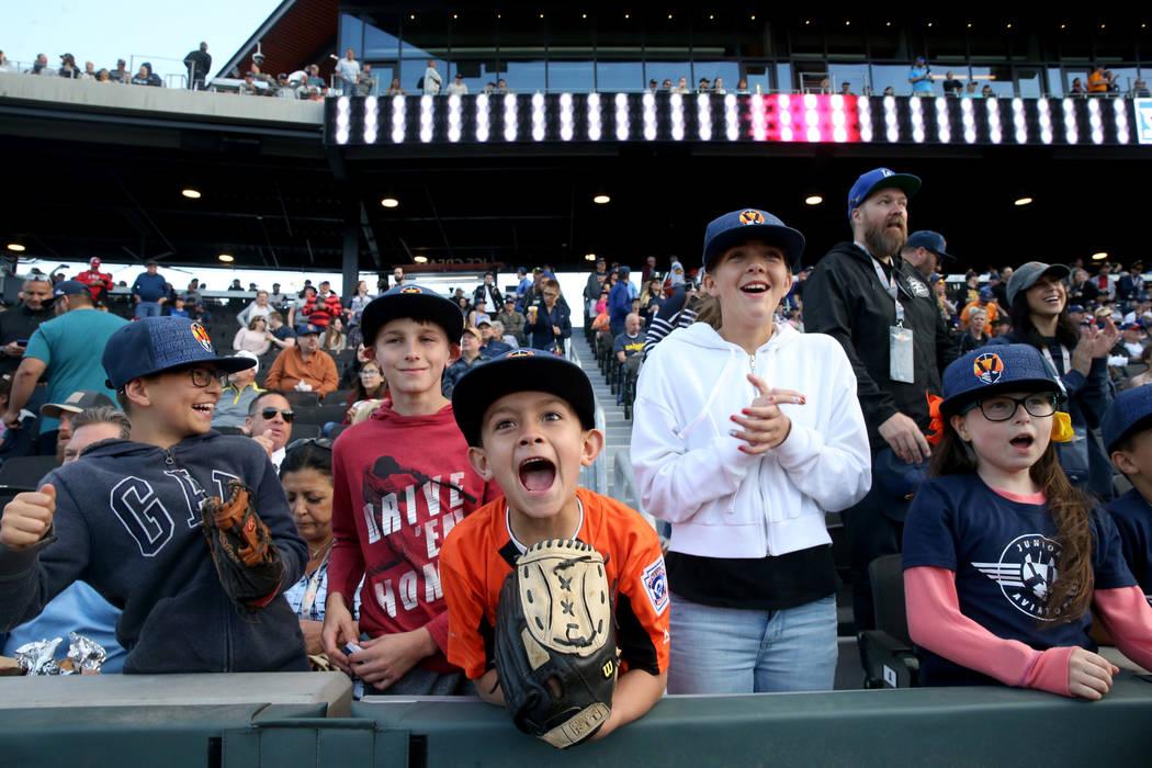 Grayson Gould, 10, from left, Brandon Kelly, 11, Ruben Hernandez, 7, Georgia Farkas, 11, and Ol ...