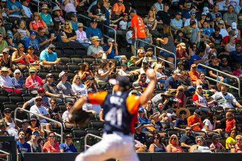 Aviators fans look on as pitcher Norge Ruiz (41) battles the Tacoma Rainiers at the Las Vegas B ...