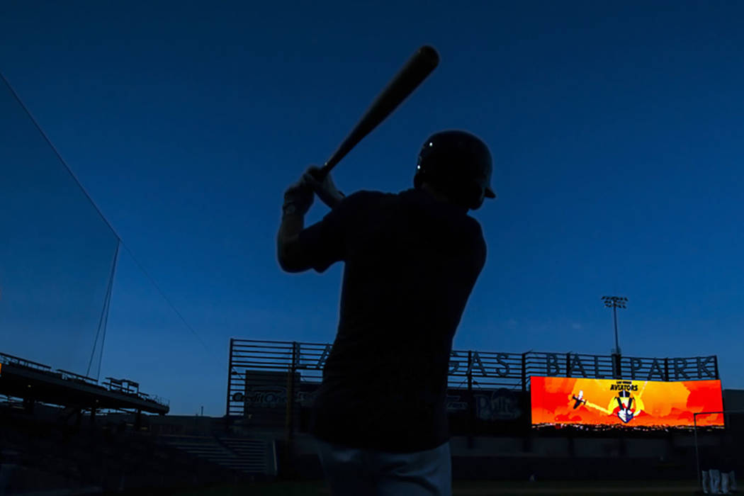 An Aviators player waits on deck during batting practice at media day at Las Vegas Ballpark on ...