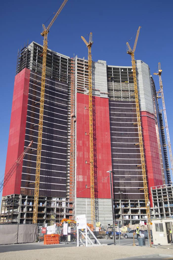 Construction continues on Resorts World Las Vegas on Thursday, Aug. 29, 2019 in Las Vegas. (Eli ...