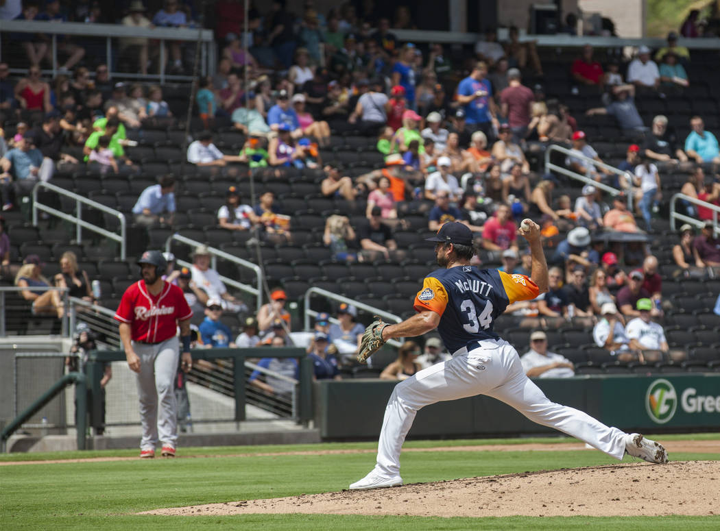 Las Vegas Aviators pitcher Trey McNutt winds a pitch against the Tacoma Rainiers in the third i ...