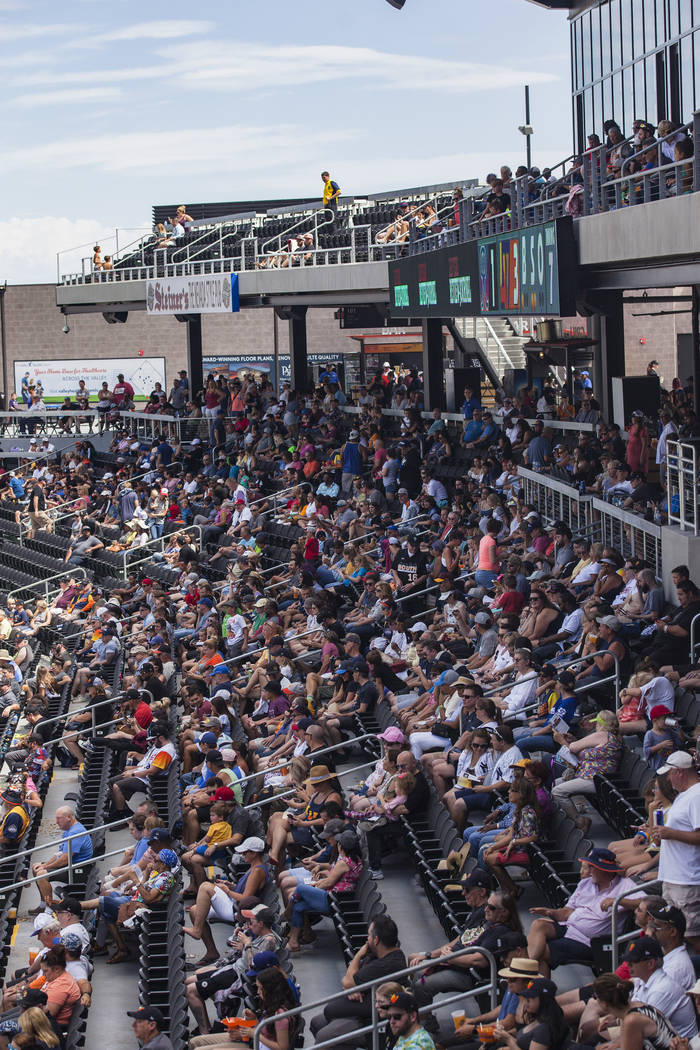 Fans watch the final home game of the season for the Las Vegas Aviators against the Tacoma Rain ...