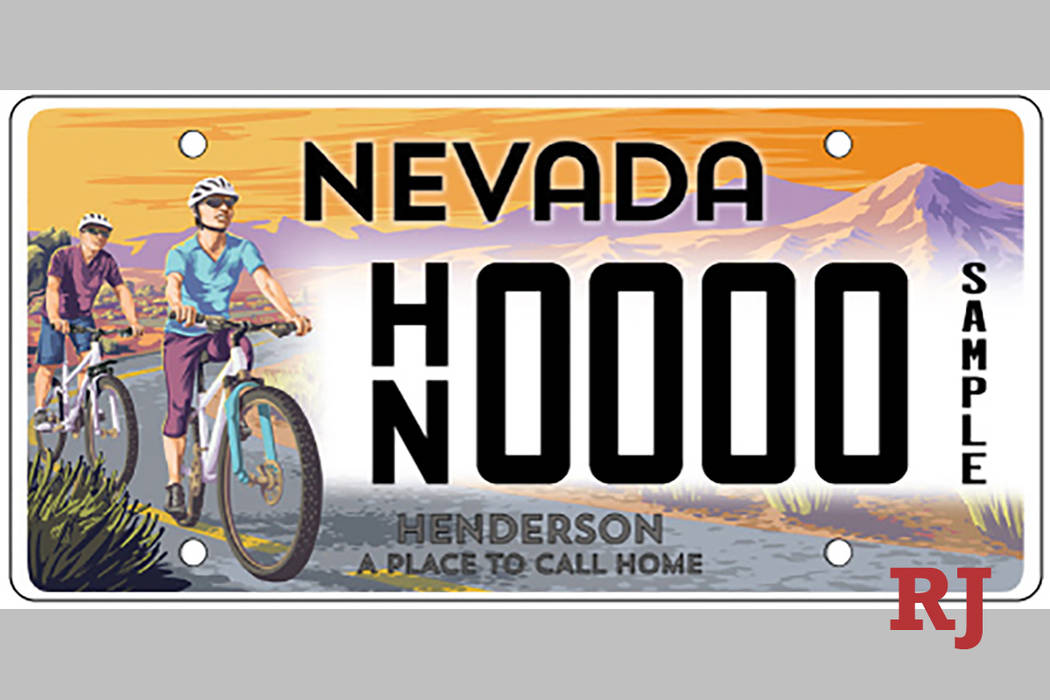 A sample Henderson specialty license plate is shown. (Nevada Department of Motor Vehicles)