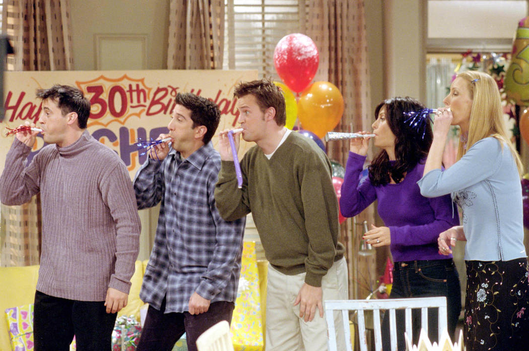 """""""The One Where They All Turn 30"""" -- Pictured, from left, Matt LeBlanc as Joey Tribbiani, D ..."""