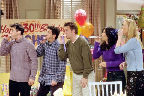 """The One Where They All Turn 30"" -- Pictured, from left, Matt LeBlanc as Joey Tribbiani, D ..."