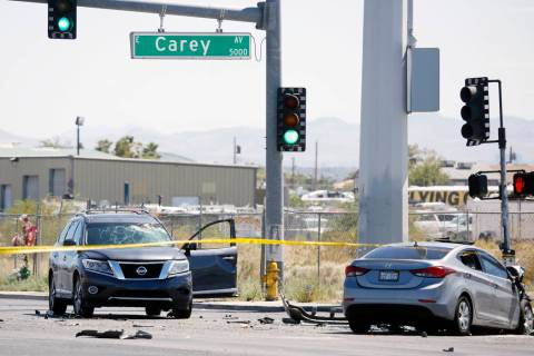 At least one person was killed in a multivehicle crash at the intersection of Nellis Boulevard ...