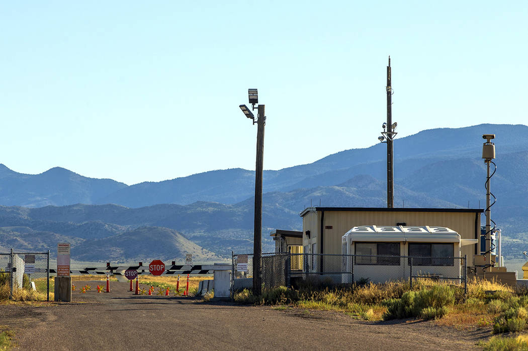 The Area 51 military base back gate at Groom Lake with no signs of activity yet may be busy in ...