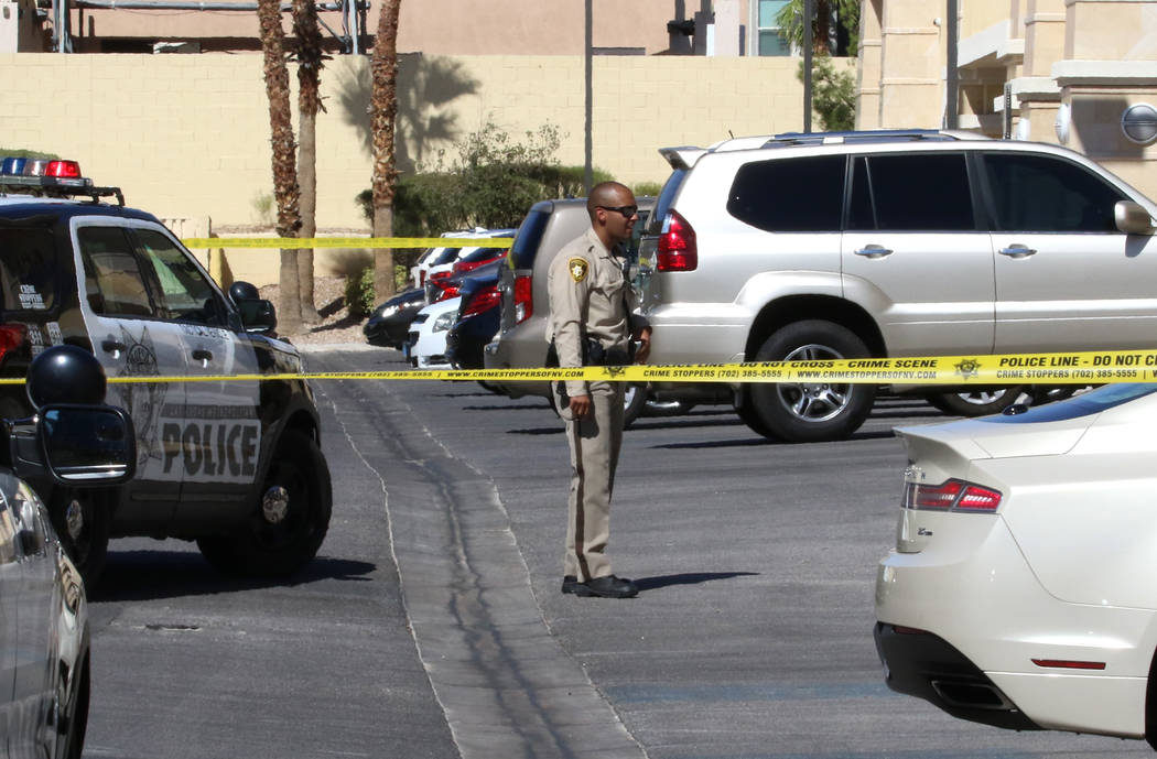 Las Vegas police investigate after a Las Vegas officer shot at a dog after it charged at police ...