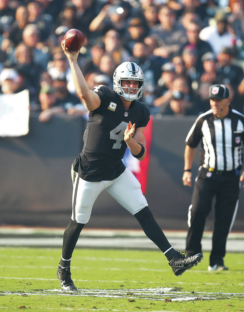 Oakland Raiders quarterback Derek Carr (4) passes against the Los Angeles Chargers during the s ...