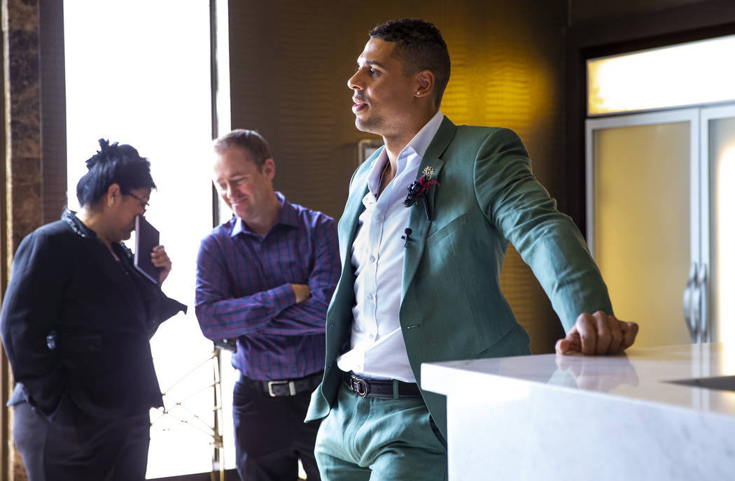 Vegas Golden Knights player Ryan Reaves awaits his cue to conduct a marriage vows renewal cerem ...