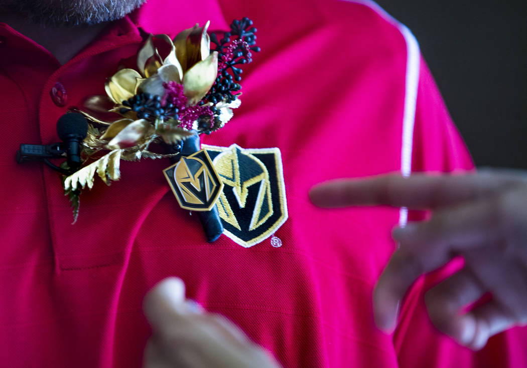 Groom Justin Long sports a Vegas Golden Knights themed boutonnire before player Ryan Reav ...