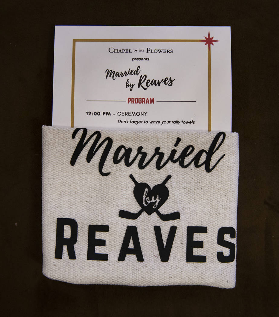 A schedule and battle towel are placed on each seat as Vegas Golden Knights player Ryan Reaves ...