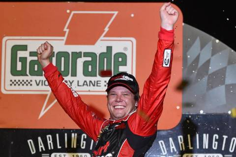 Erik Jones celebrates his victory after a NASCAR Cup Series auto race on Sunday, Sept. 1, 2019, ...