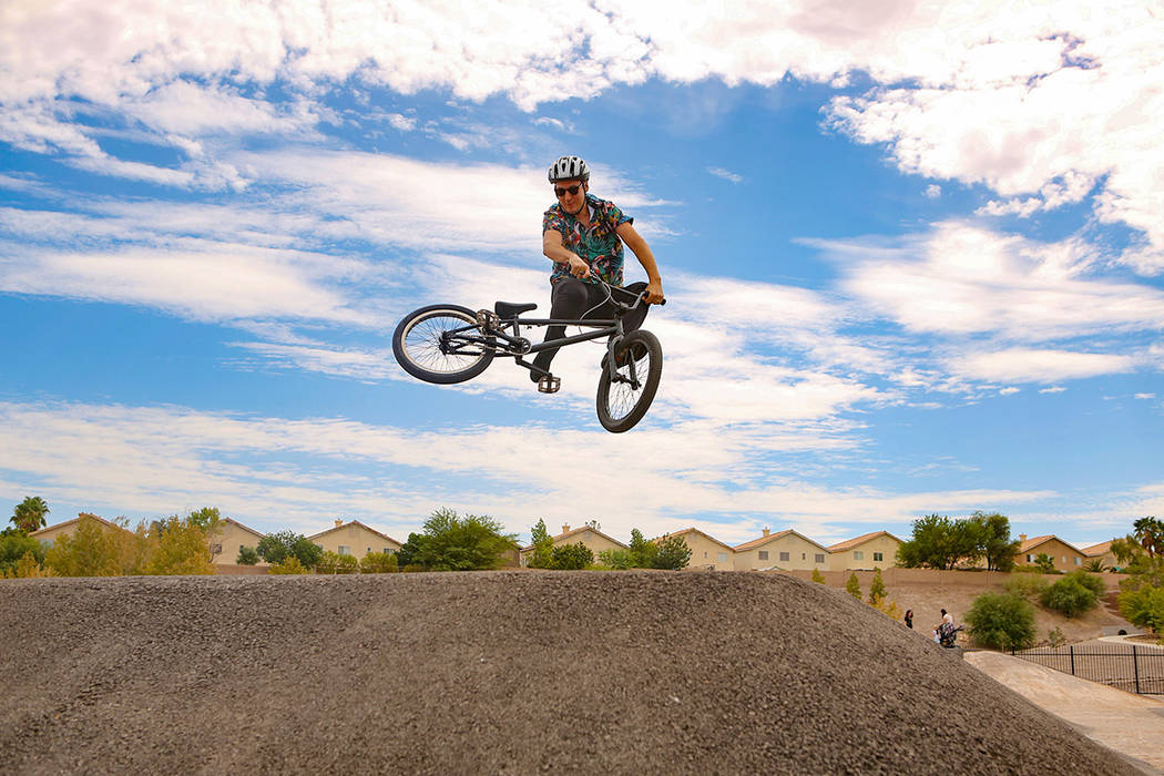 Mitchell Davidson, from Henderson, does a trick on his dirt bike at Arroyo Grande Sports Comple ...