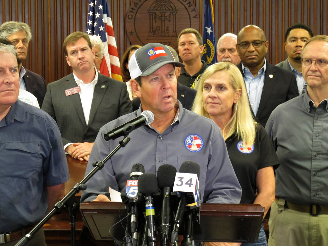 Georgia Gov. Brian Kemp discusses evacuations and emergency plans for Hurricane Dorian during a ...