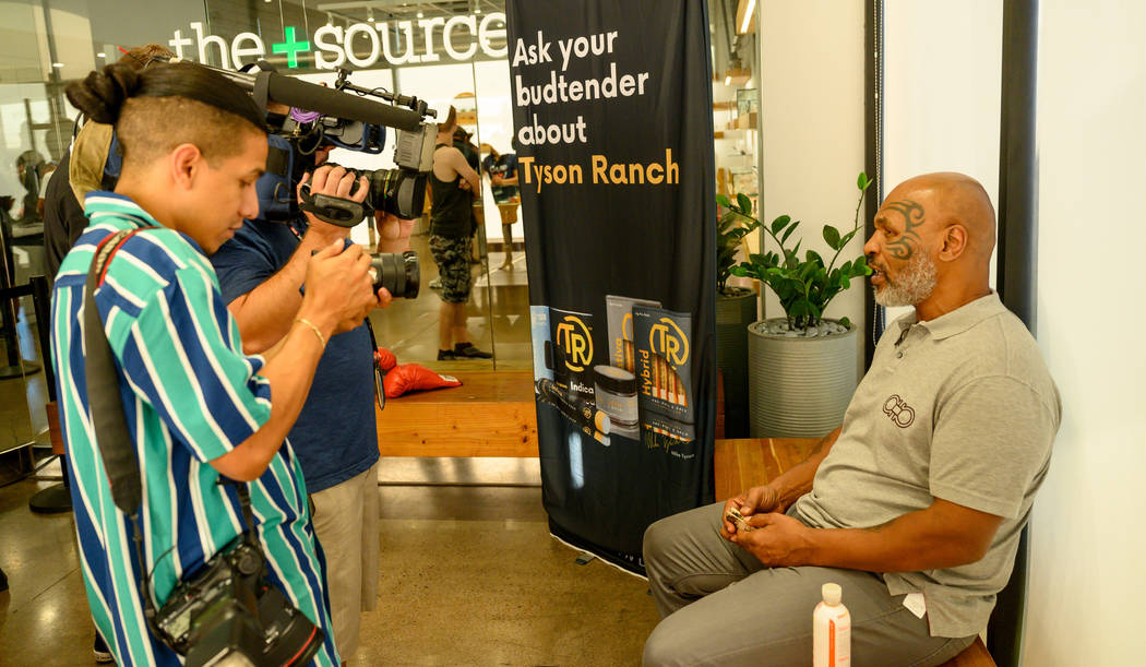 Mike Tyson is shown during an interview at the Source cannabis dispensary in Henderson on Satur ...