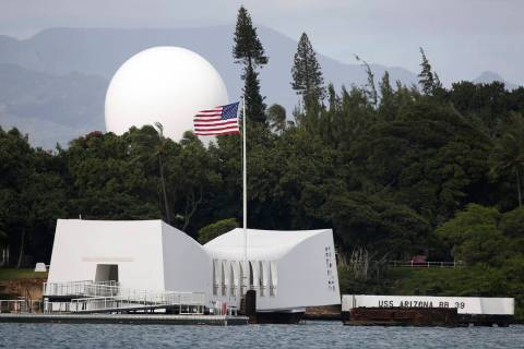 This Dec. 27, 2016 file photo shows the USS Arizona Memorial at Joint Base Pearl Harbor-Hickam, ...