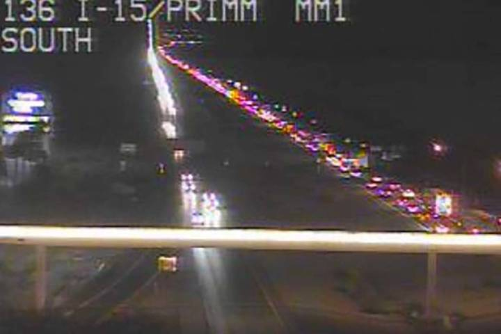 Southbound I-15 is bumper-to-bumper on Monday, Sept. 2, 2019. (RTC camera)