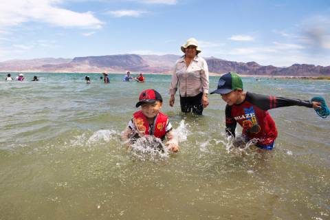 Jaiden Sanchez, 4, left, and his brother, Jason, 7, right, splash in the water as their aunt No ...