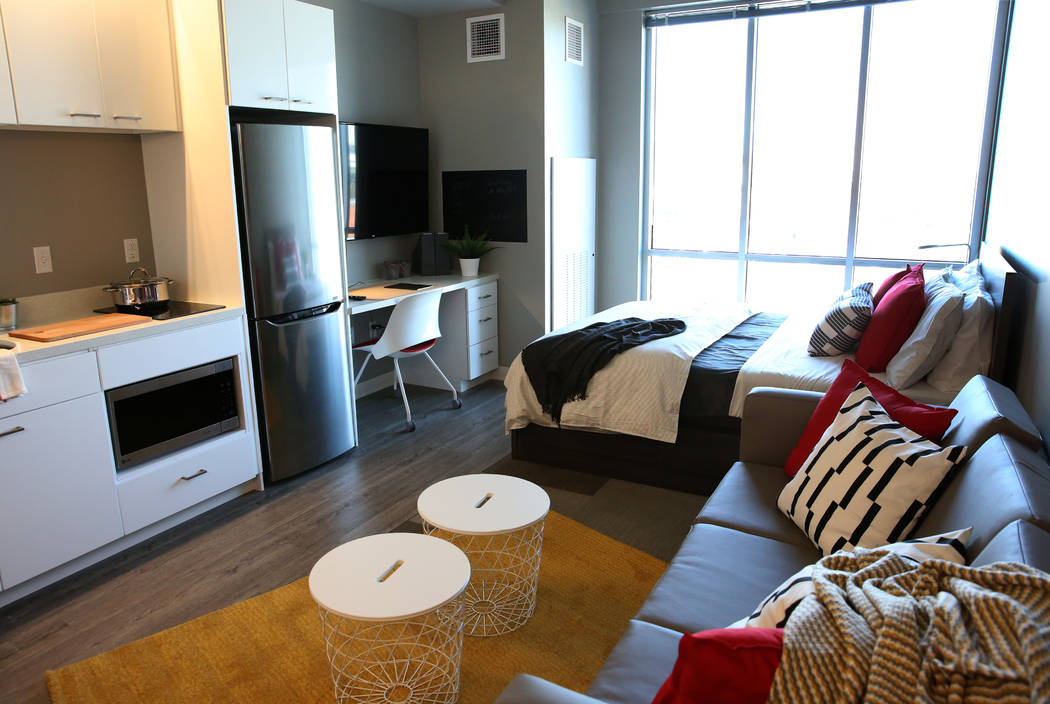 A studio at a new apartment complex called ''the yoU'' near UNLV photographed on Thursday, Aug. ...