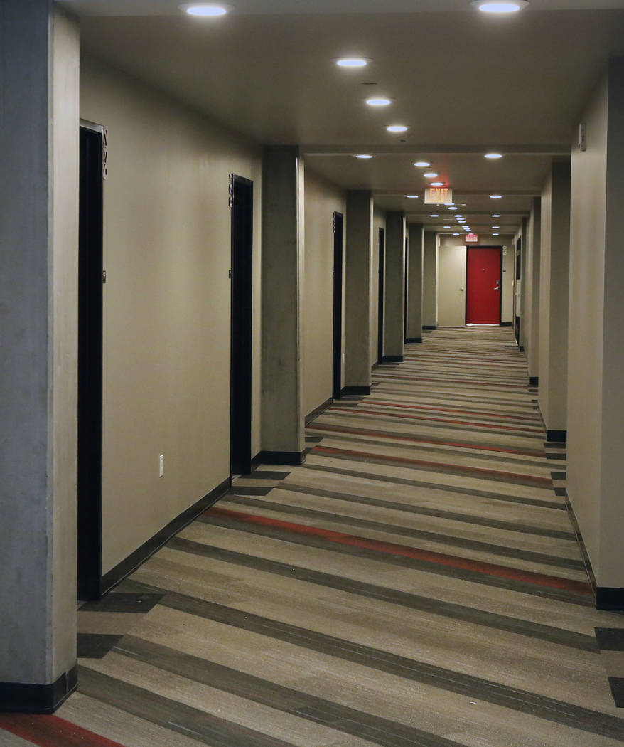 The hallway at a new apartment complex called ''the yoU'' near UNLV photographed on Thursday, A ...