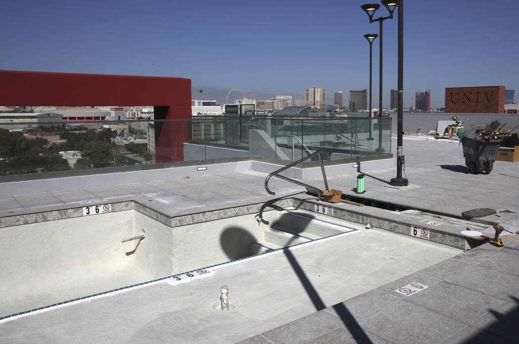 Rooftop swimming pool is seen at a new apartment complex called ''the yoU'' near UNLV on Thursd ...
