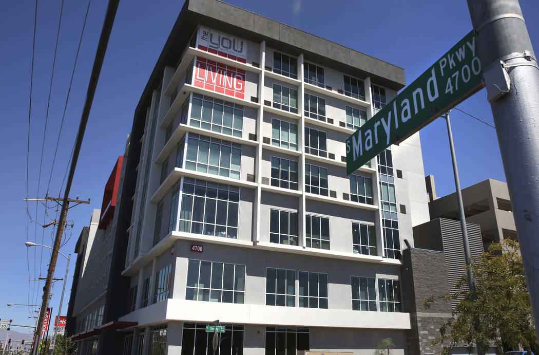 A new apartment complex near UNLV called ''the yoU'' photographed on Friday, Aug. 30, 2019, in ...