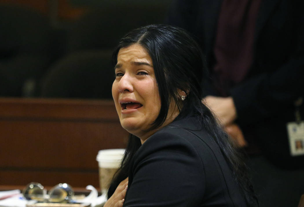 Anabel Sarabia, mother of shooting victim 11-year-old Angelina Erives, weeps as she delivers he ...