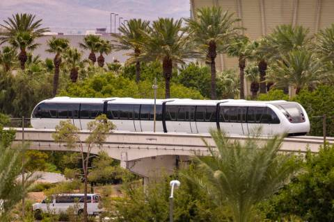 A train makes its way toward the Westgate Station along the Las Vegas Monorail system on Sunday ...