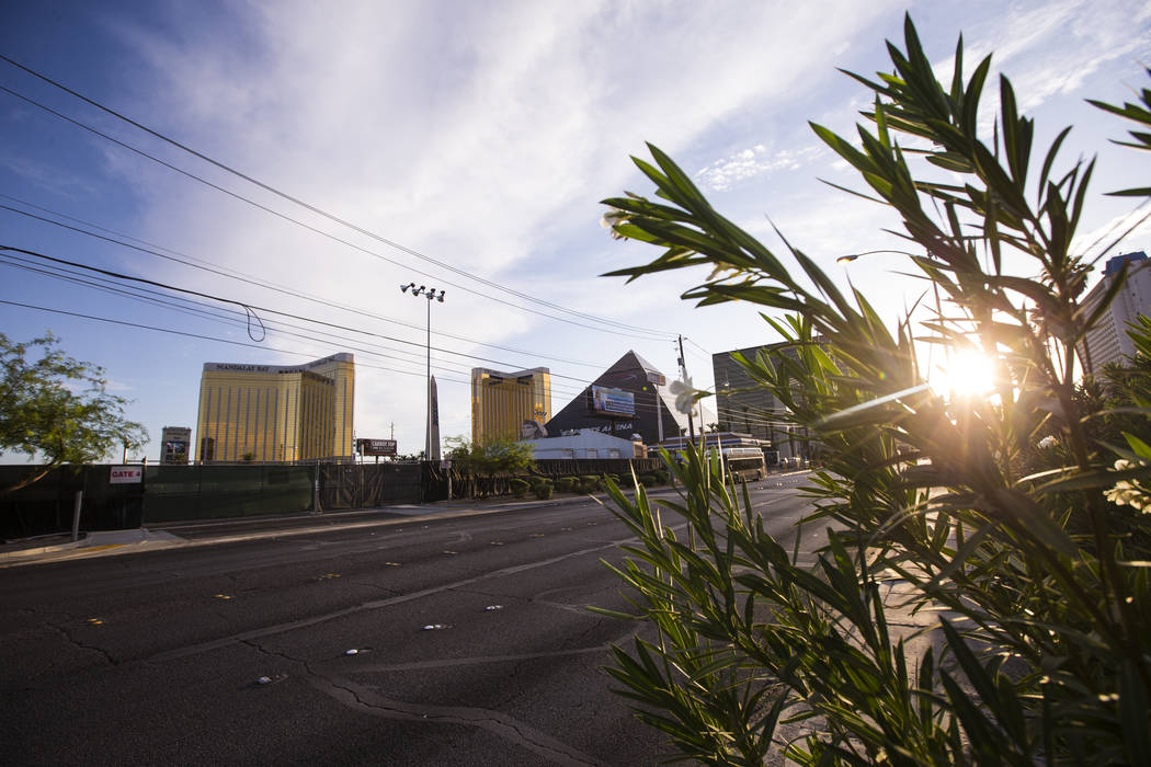 A view of the former Route 91 Harvest music festival site as seen off Reno Avenue in Las Vegas ...