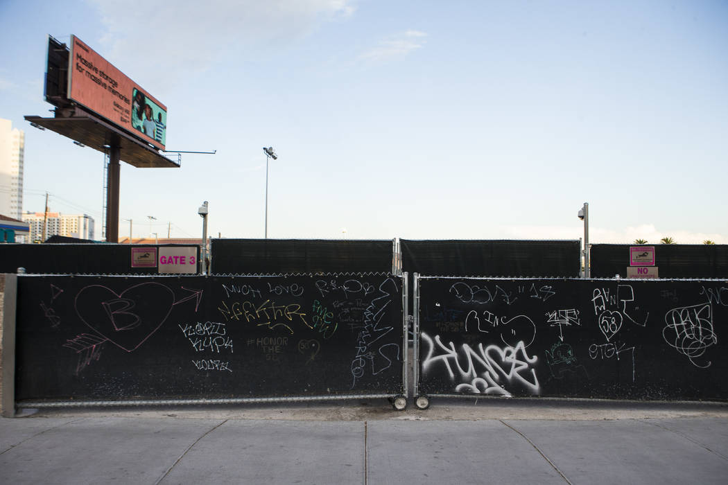 A view of the former Route 91 Harvest music festival site along Las Vegas Boulevard, just south ...