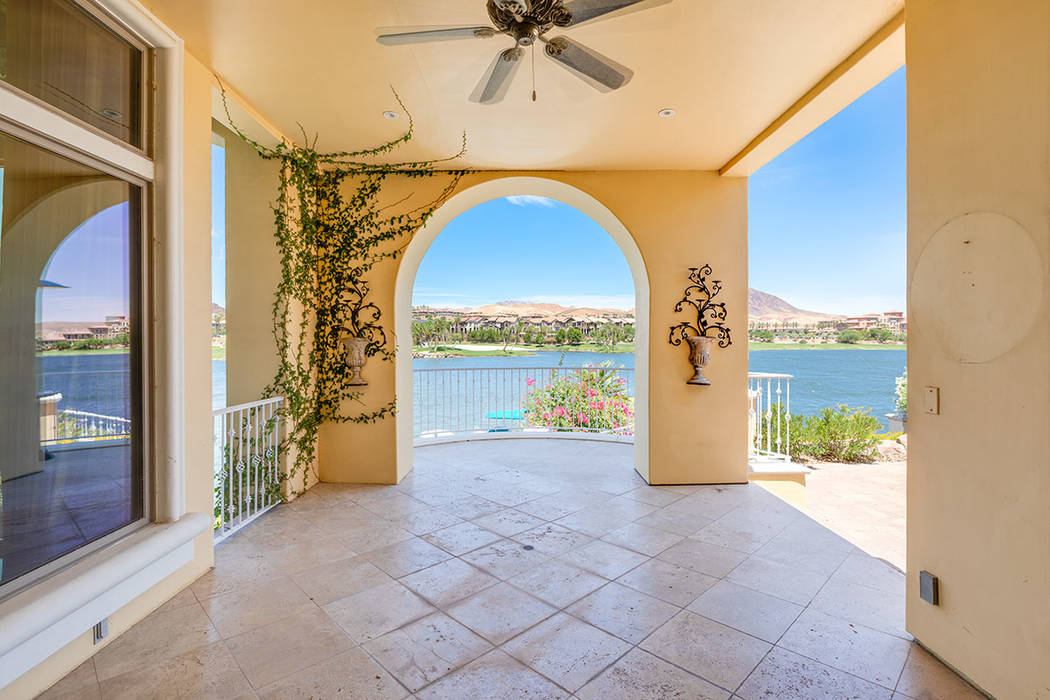 The covered patio has a view of Lake Las Vegas. (Ivan Sher Group)
